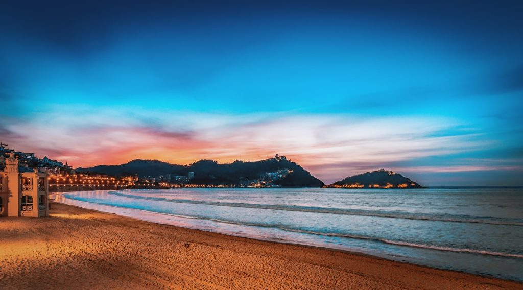 スペイン_サン・セバスティアン_日没のビーチ